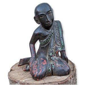 19th c. Antique Burmese Sariputra Carved Figure